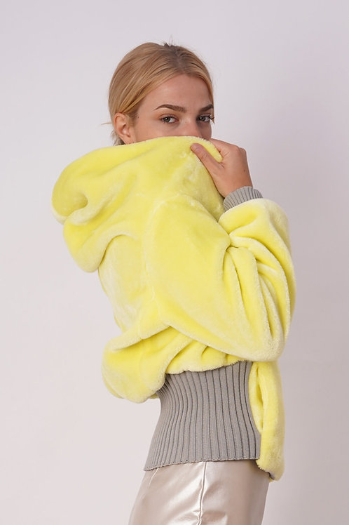 Synthetic Fur Jacket in Yellow
