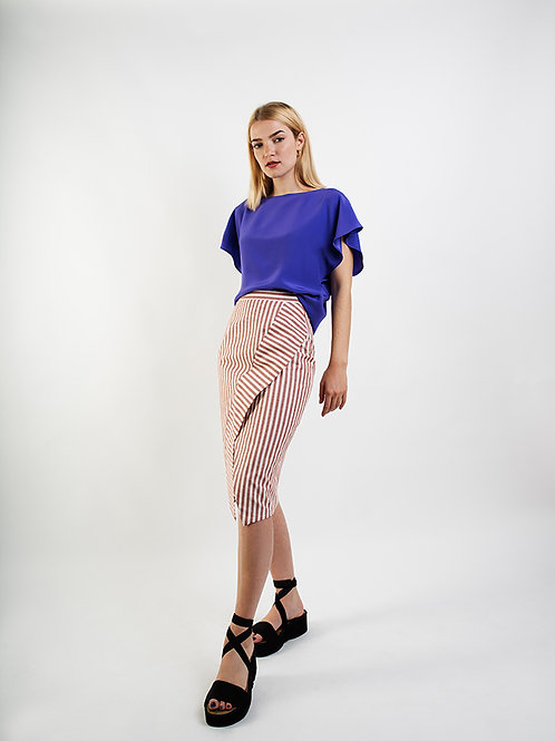 Red Stripes Pencil Skirt