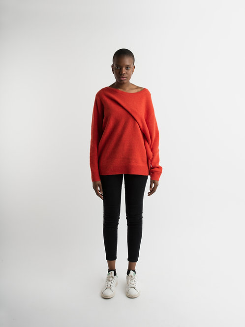 Wool Pullover with draping in orange