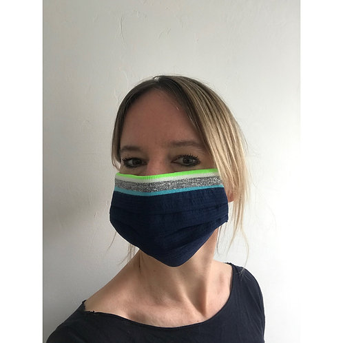 Face Mask With Turquoise/ Neon Ribbing