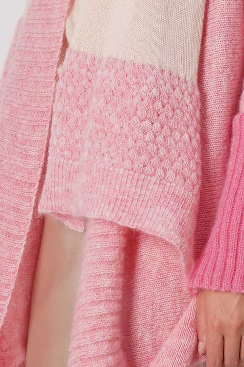 Scarf in Mohair- Pink/Beige