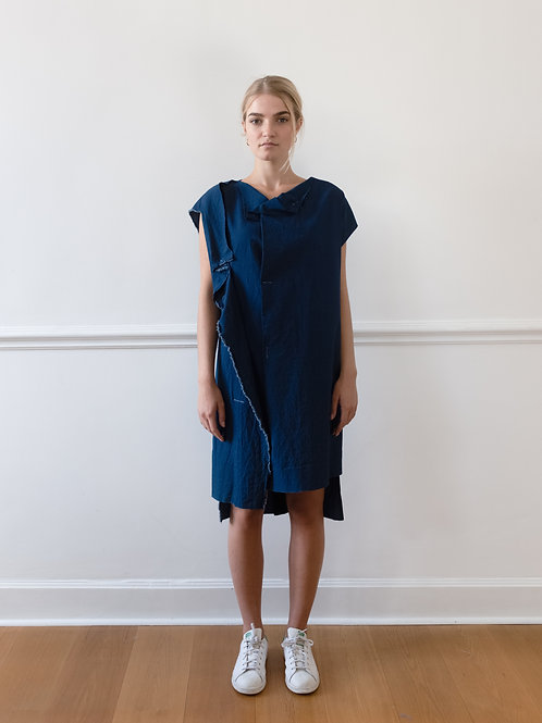 Asymmetric  Dress in Jeans Optic