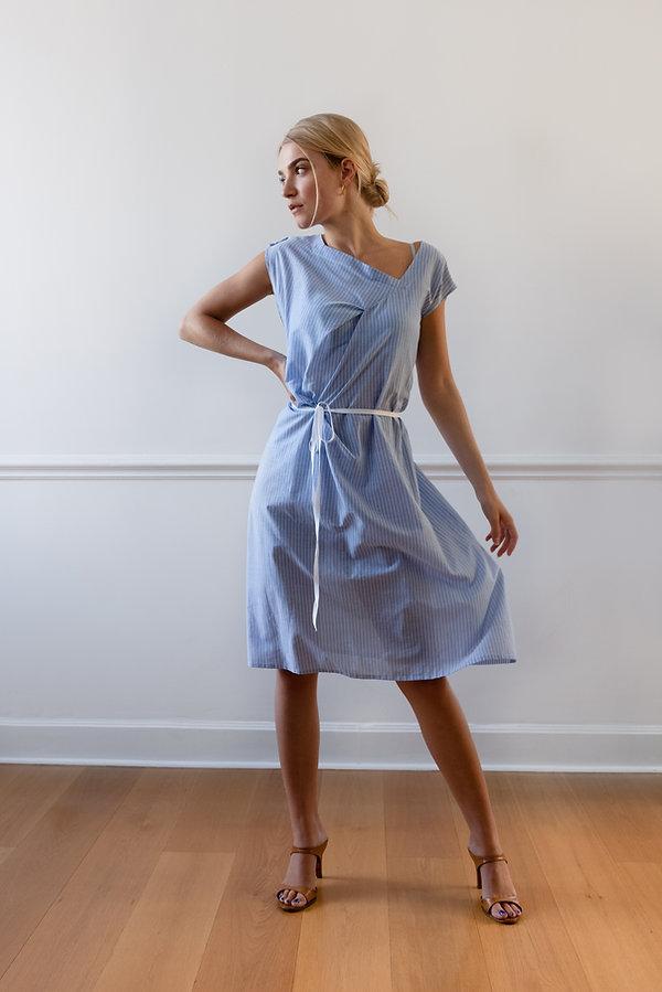 CONNI KAMINSKI SUMMER 2019 BRUSSELS BEGIUM FASHION DESIGNER BLUE DRAPING DRESS