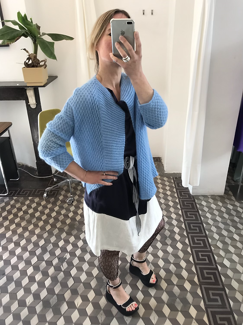 Cardigan Mohair in Blue or framboise