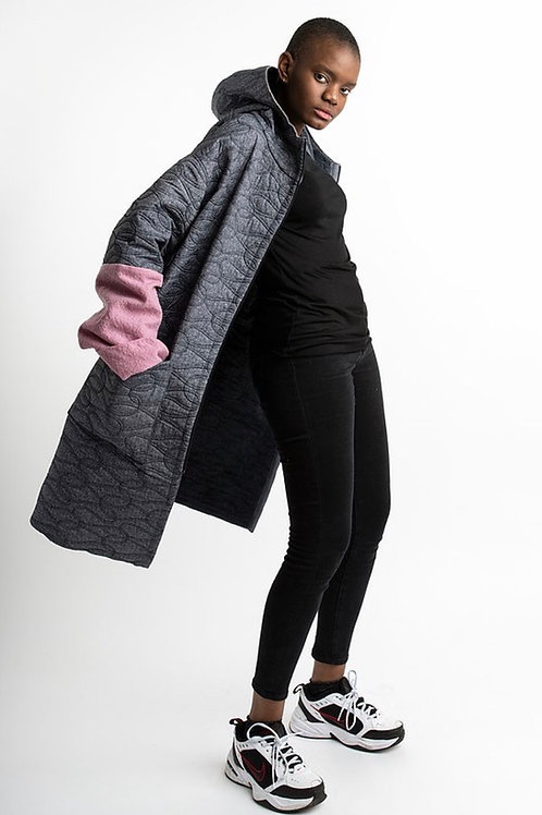 Grey Padded Coat with pink sleeves