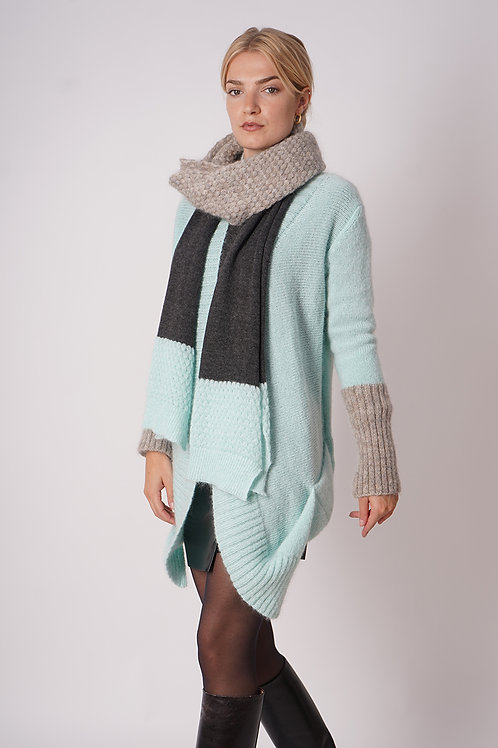 Cardigan Mohair in Mint/Beige
