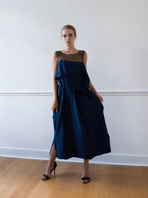Dress in Jeans optic with mesh