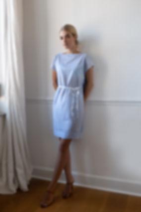 CONNI KAMINSKI SUMMER 2019 BRUSSELS BEGIUM FASHION DESIGNER BLUE STRIPES COTTON DRESS
