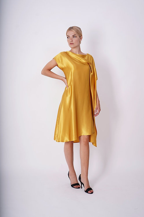 Asymmetrical Silk Dress in Gold