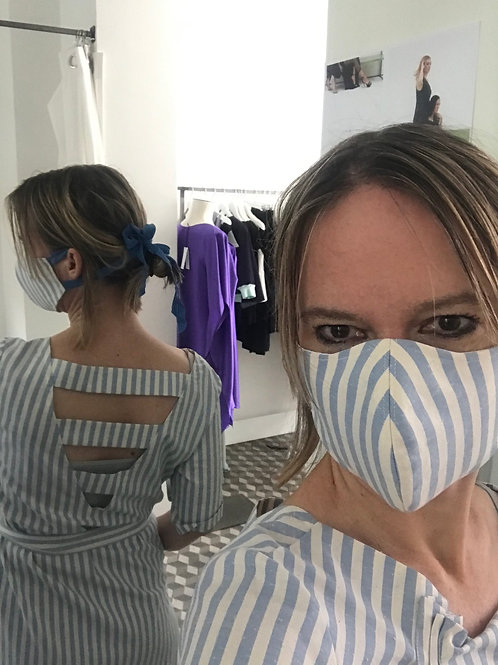 Blue Stripes Fashion Mask With Bands