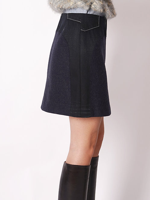 Skirt in Wool/Jeans mix