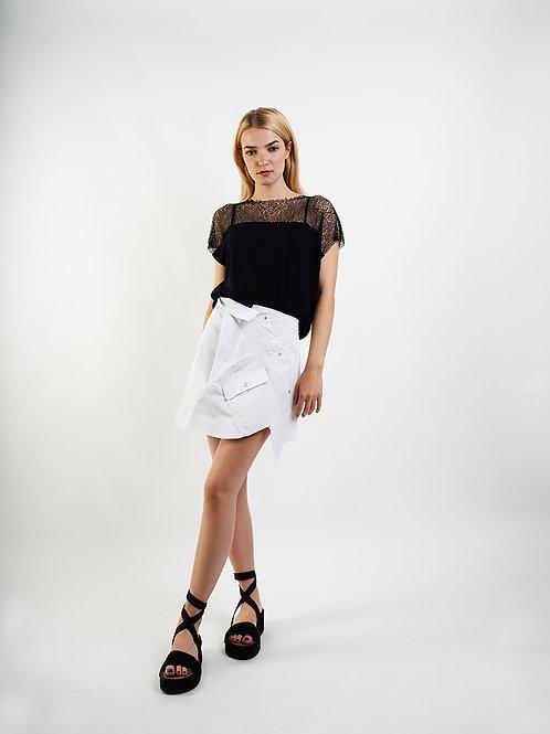 Asymmetrical Skirt in White