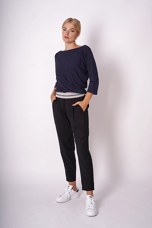 Asymmetrical Pull in Jersey with Lurex Ribbing
