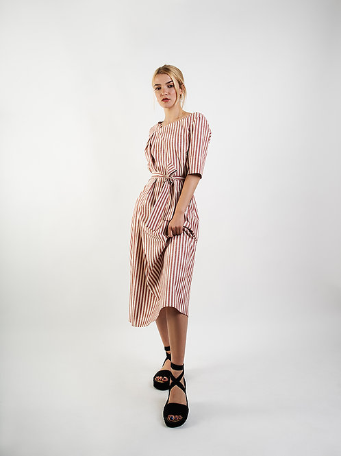 Red Stripes Asymmetrical Maxi Dress
