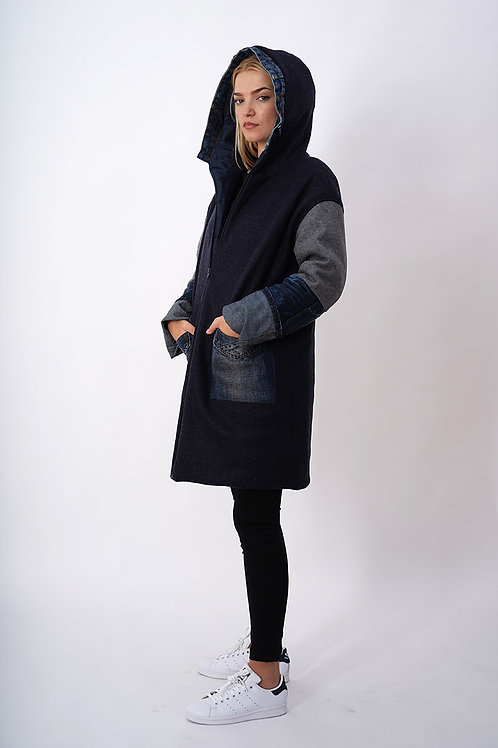 Reversible Coat in Wool/Jeans Mix with Waterproof  Padded Lining