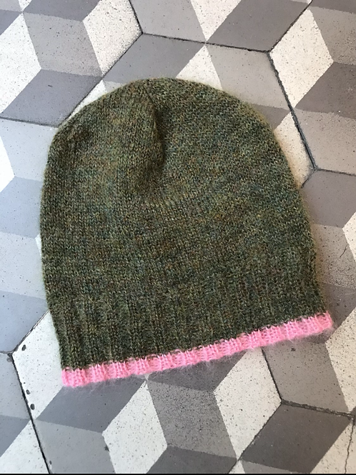 Bonnet in Mohair in Kaki/Pin