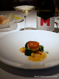 wine Paired with fresh Sea Scallop from Araxi Restaurant, Whistler,BC