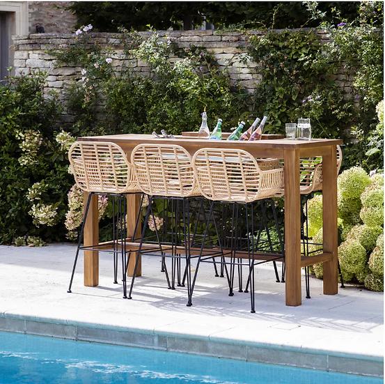 HAMPSTEAD - Ensemble table haute / 4 fauteuils