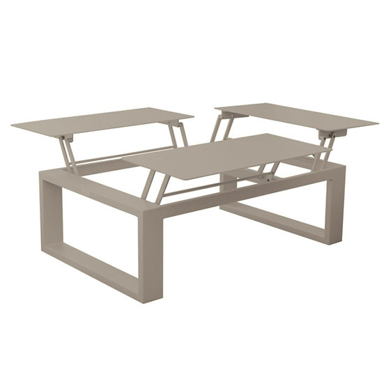 FERMO - Table basse 3 plateaux relevables - champagne