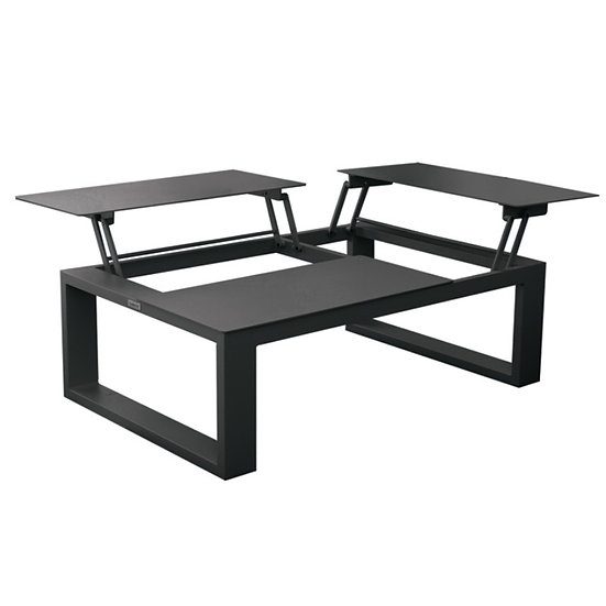 FERMO - Table basse 3 plateaux relevables - Charcoal
