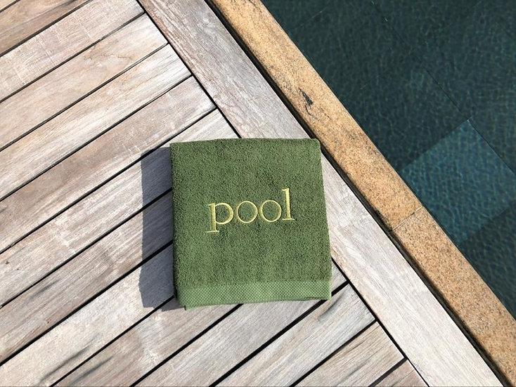 POOL - Serviette de bain - kaki/broderie doré