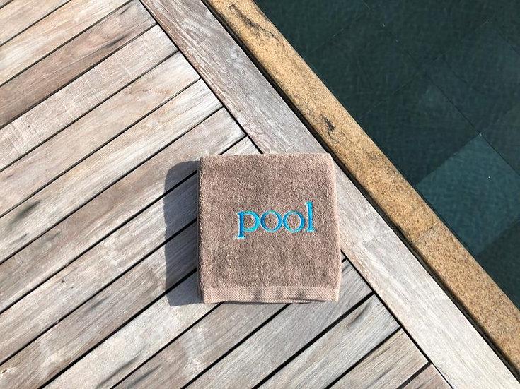POOL - Serviette de bain - marron/broderie turquoise