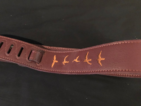 Paul Reed Smith PRS Premium Leather Strap, Birds Embroidery, Burgundy