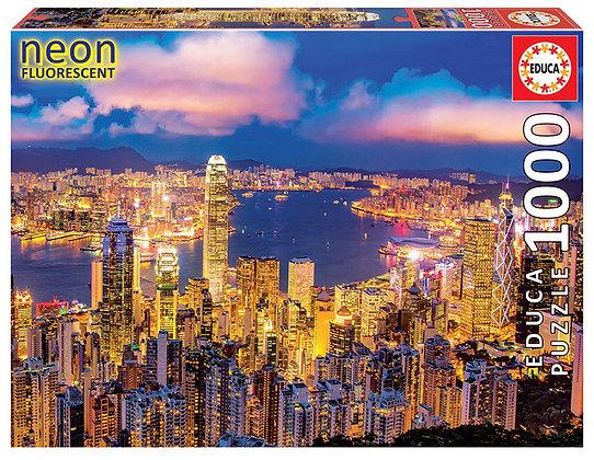 "Hong Kong Skyline ""Neon Puzzle"""