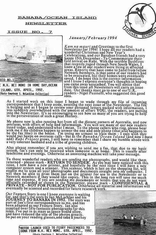 No. 7 Banaba/Ocean Island News Dec-Jan 1993