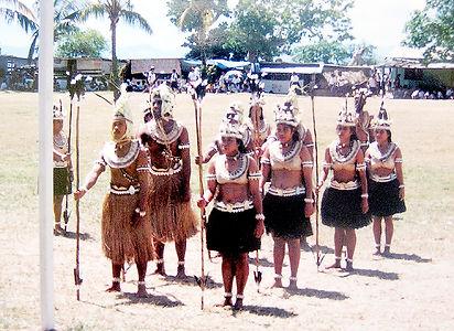 Banaban Dancing Group in Te Karanga costume at the 50th Jubilee Celebrations 1995