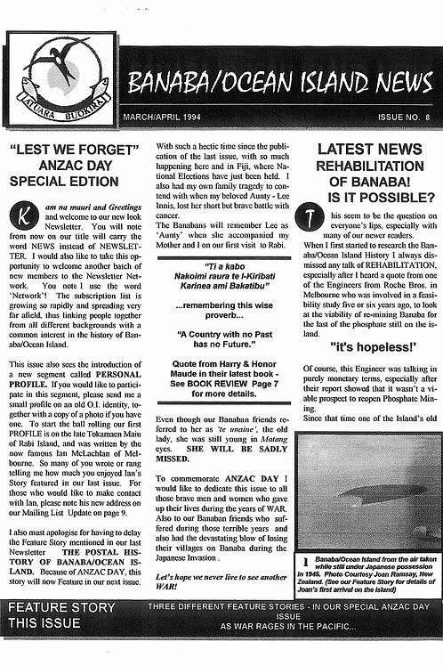 No. 8 Banaba/Ocean Island News Mar-Apr 1994
