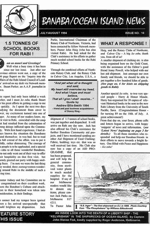 No. 10 Banaba/Ocean Island News Jul-Aug 1994