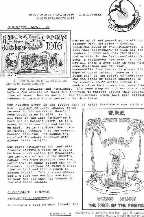 No. 6 Banaba/Ocean Island News Dec-Jan 1993