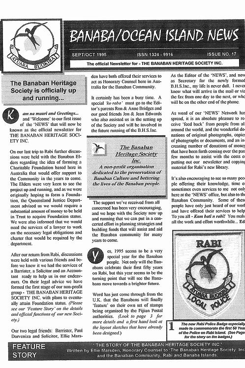 No. 17 Banaba/Ocean Island News  Sep-Oct 1995