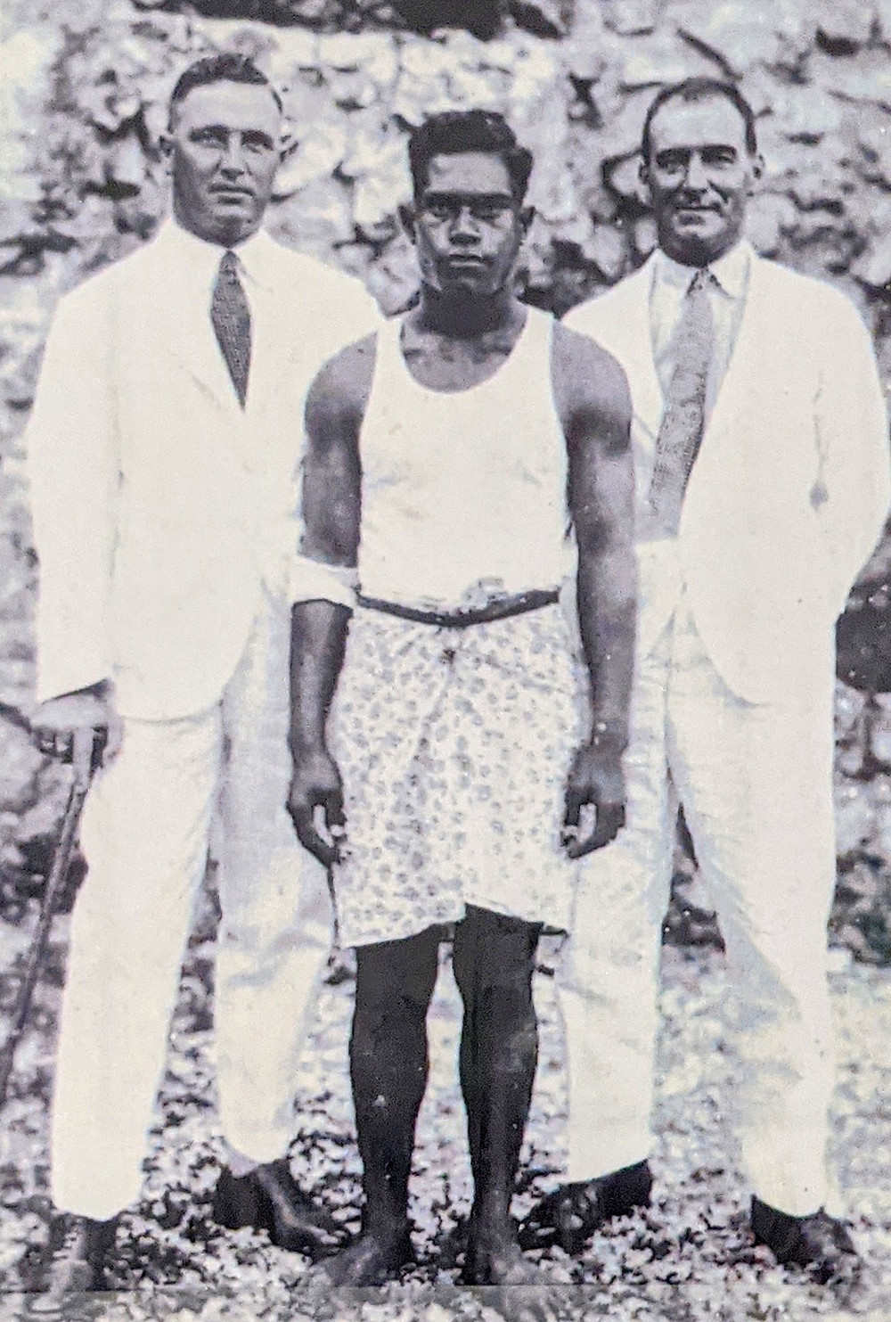Tom Embleton on right, with Moaningeri and Bill Woods Ocean Island 1940s