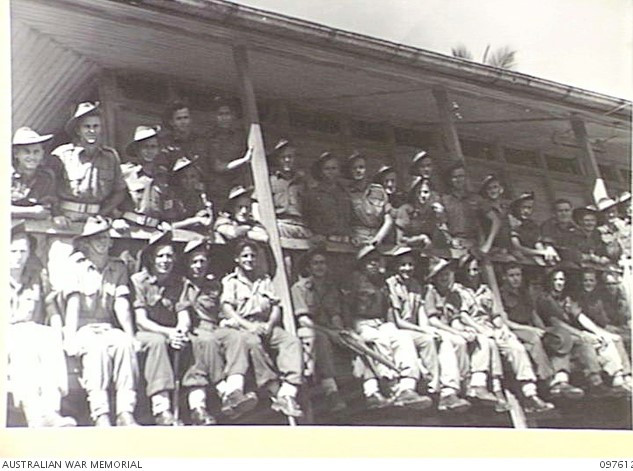 Troops of the Ocean Island Occupation Force from Australian B Company, 31/51 Infantry Battalion pictured outside the quarters on Ocean Island in 1941
