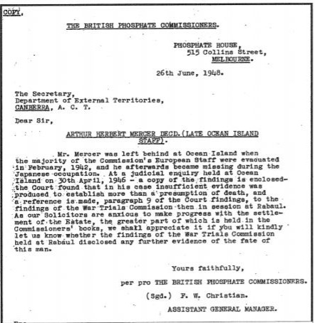 The British Phosphate Commissioners letter Dated 26 June 1948  to the Australian Government Dept of External Territories, Canberra, regarding the death of Arthur Mercer
