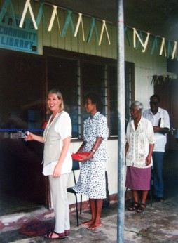 Stacey King opening first Library on Rabi Island, Fiji 1997