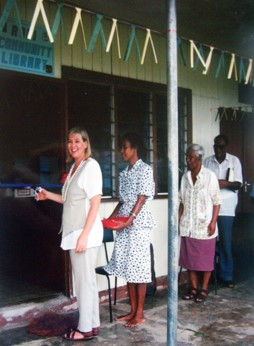 Stacey King at the opening of the  Library Rabi 1995