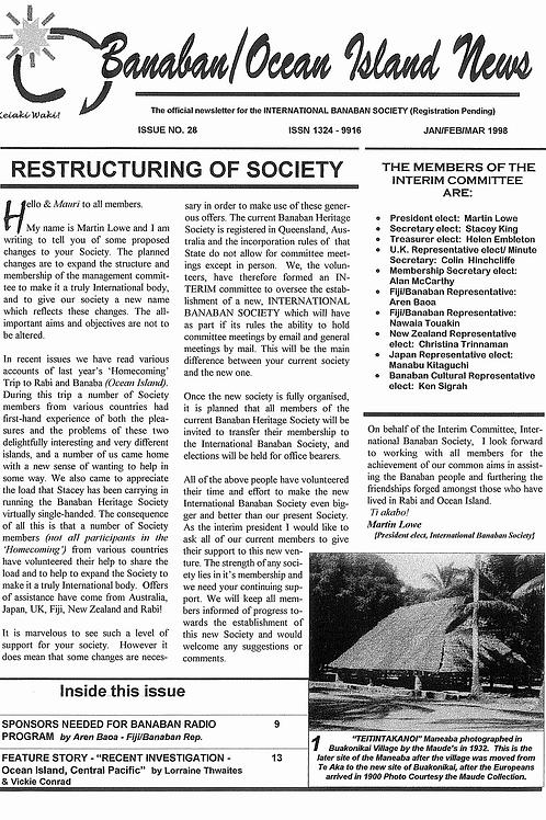 No. 28 Banaba/Ocean Island News Jan-Feb-Mar 1998