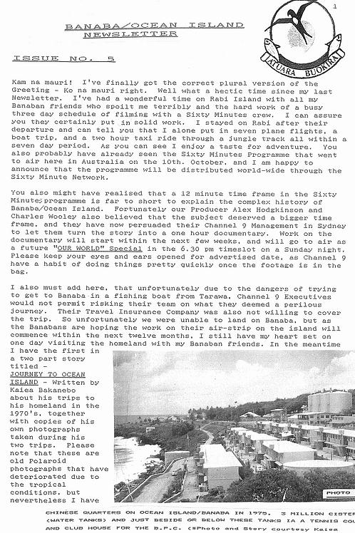 No. 5 Banaba/Ocean Island News Oct-Nov 1993