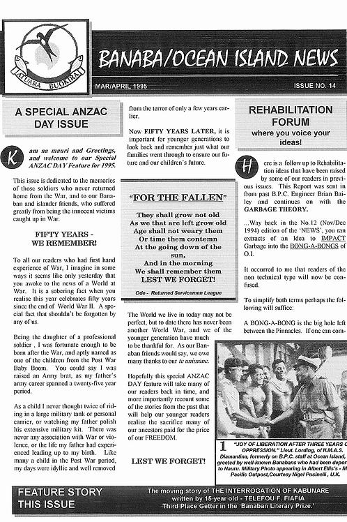 No. 14 Banaba/Ocean Island News Mar-Apr 1995