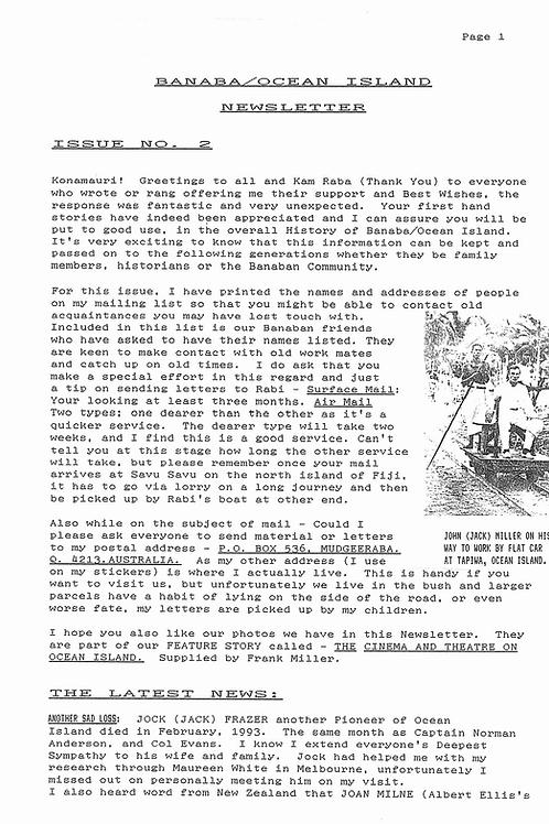 No. 2 Banaba/Ocean Island News Apr-May 1993