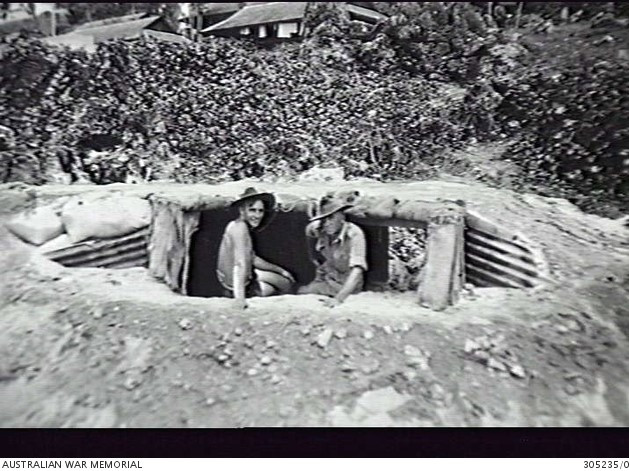 Australian troops in Ocean Island Occupation Force at a machine gum emplacement Ocean Island C. 1940