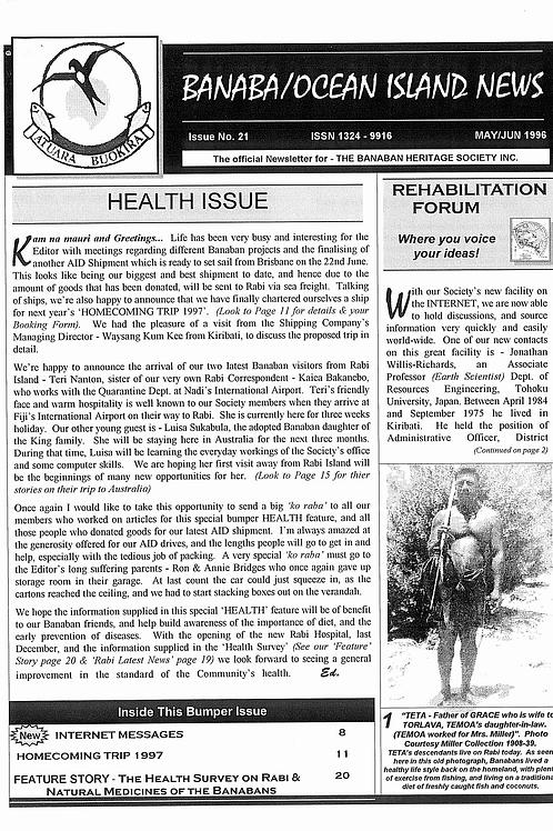 No. 21 Banaba/Ocean Island News May-Jun 1996