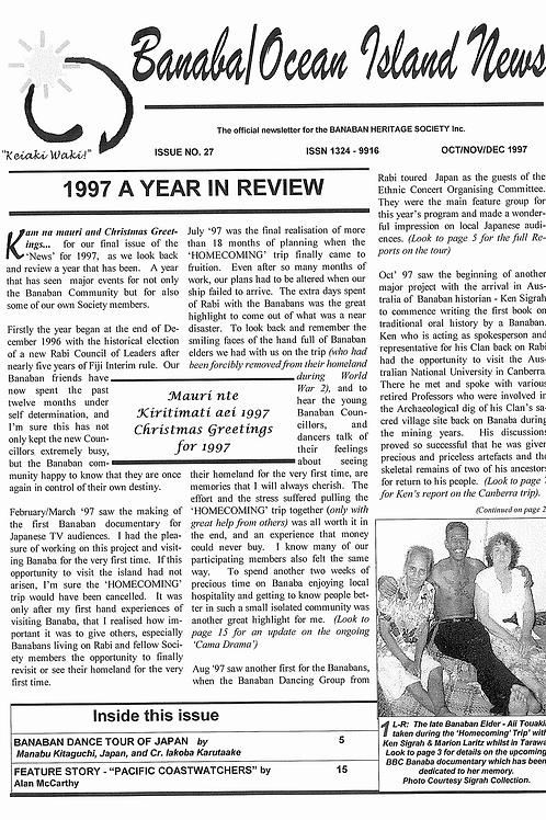 No. 27 Banaba/Ocean Island News Jun-Jul-Aug 1997