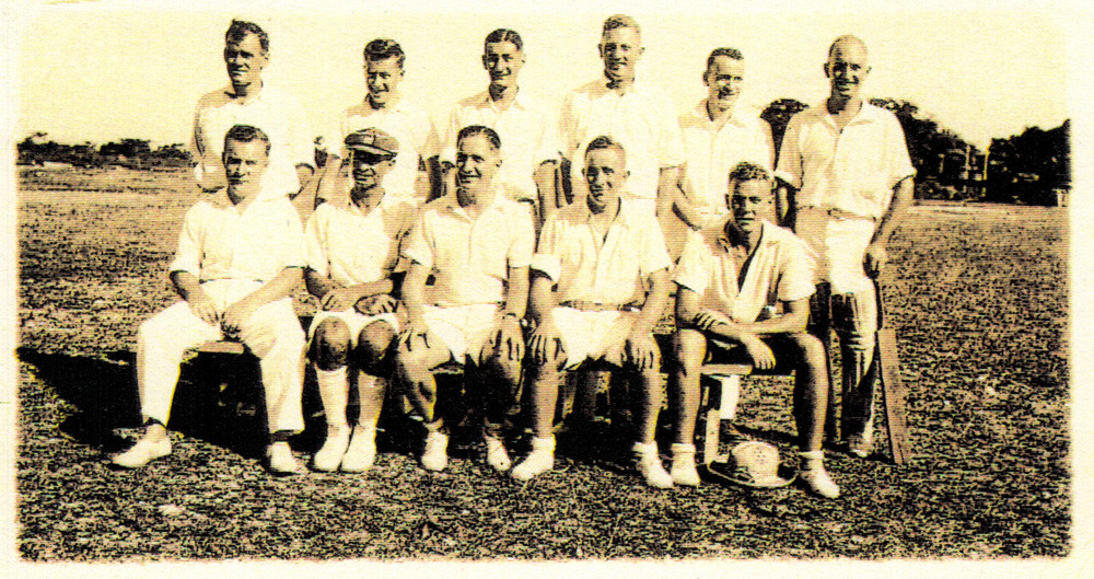 Ocean Island Cricket Team c. 1938. Three of the team would lose their lives during WWII. Back Row LHS: Lindsay Cole, murdered by the Japanese, Banaba; Joseph White junior, merchant seaman killed when his vessel was sunk off the coast of Africa by German raiders. Front Row RHS: Arthur Mercer, murdered / escaped / killed during WWII on Banaba by Japanese. Peter Anderson Version