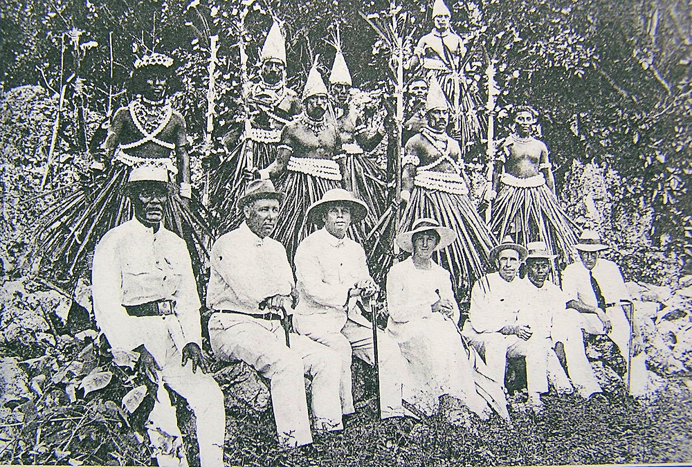 Banaban Te Karanga dancers with cone caps early 1900s Banaba