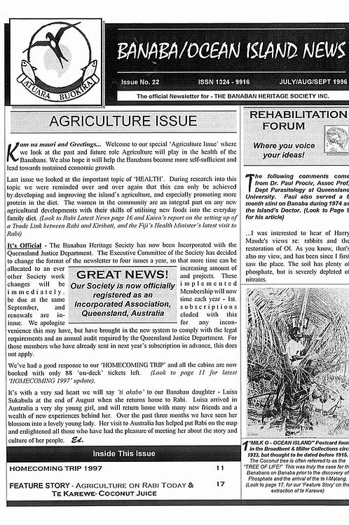 No. 22 Banaba/Ocean Island News Jul-Aug-Sept 1996