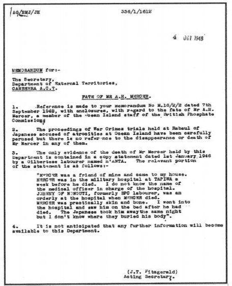 Memorandum dated 4 October 1948 Australian Government, Dept of External Territories, Canberra regarding the fate of Arthur Mercer